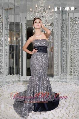 Mermaid Strapless Sequin and Taffeta Evening Dress Sash