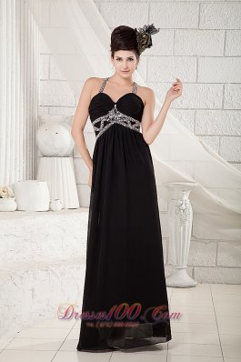 Black Halter Evening Dress Chiffon Beading Open Back