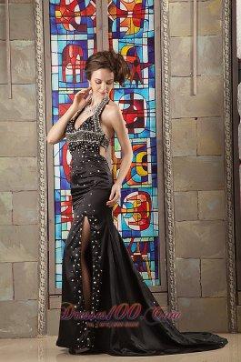 Side Slit Halter V-neck Evening Dress Open Back