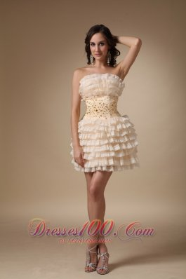 Champagne Strapless Short Beading Layered Cocktail Dress