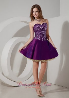 Elegant Purple Cocktail Dress Sweetheart Taffeta and Sequin