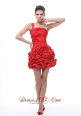 Red One Shoulder Hand Flowers Mini-length Cocktail Dress