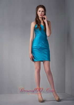 Blue Strapless Ruched Bridesmaid Dress Mini-length 2013