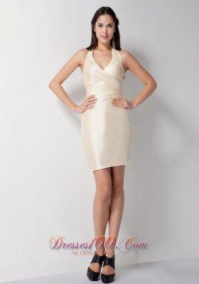 Champagne Halter V-neck Bridesmaid Dress Mini-length