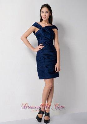 Navy Blue Asymmetrical Neck Bridesmaid Dress Mini-length