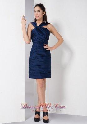 Navy Blue V-neck Ruch Bridesmaid Dress Mini-length Taffeta
