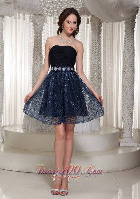 Sexy Navy Blue Homecoming Dress Strapless Beaded