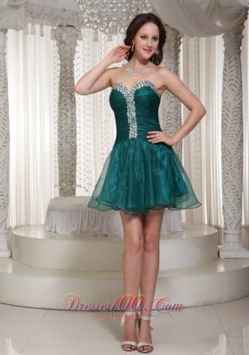 Sweetheart Peacock Green Homecoming Dress Rhinestones
