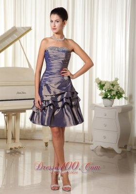 Dark Purple Strapless Short Homecoming Dress Layered