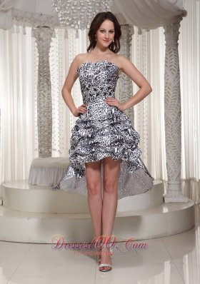 Leopard Strapless High-low Prom Cocktail Dress 2013