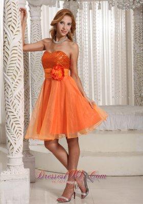 Orange Hand Flower Belt Sequins Homecoming Dress