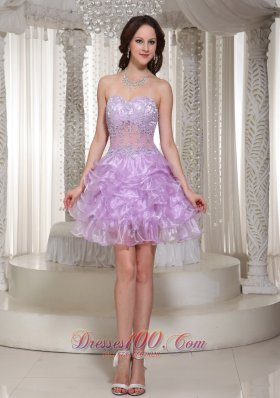 Sexy See-through Lace Lavender Homecoming Dress