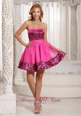 Hot Pink Zebra Mini-length 2013 Prom Graduation Dress Cheap