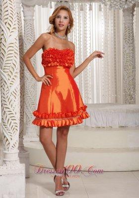 Orange Red Hand Made Flowers Prom Dress Cheap