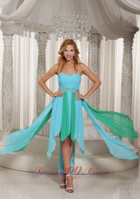 Two-toned Asymmetrical Sweetheart Beaded Prom Dress