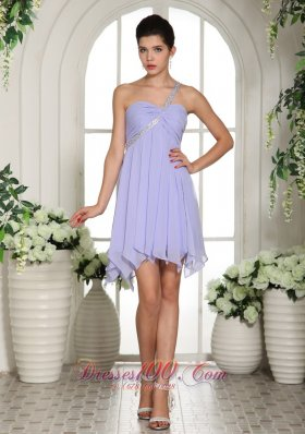 Lilac Beaded One Shoulder Short 2013 Homecoming Dress