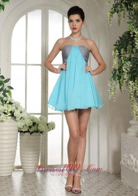 Aqua Blue and Grey Mini-length Club Homecoming Dress