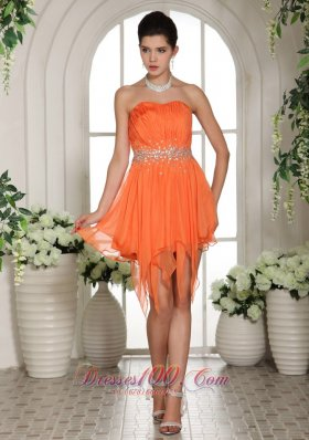 Orange Beaded Asymmetrical Homecoming / Cocktail Dress