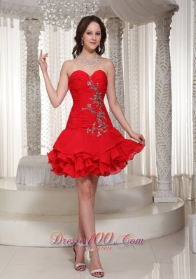 Sweetheart Red Short Prom / Cocktail Dress Ruched Beading