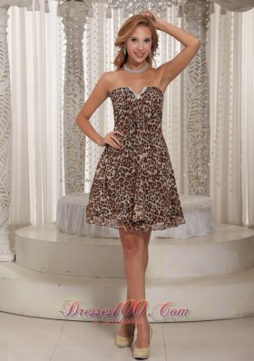Multi-color Leopard V-neck Mini-length Cocktail Dress