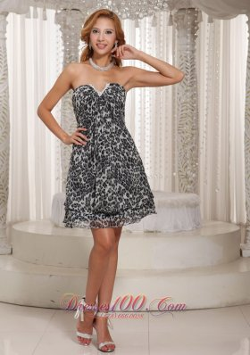 Short Multi-color Leopard V-neck Homecoming Dress
