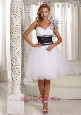 One Shoulder White Prom Homecoming Dress Hand Flower
