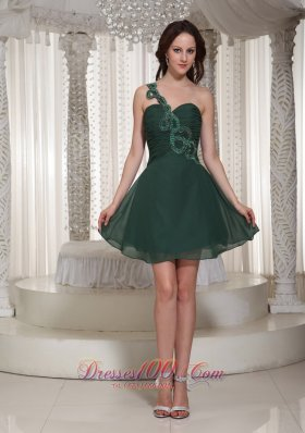 One Shoulder Sweetheart Short Peacock Green Prom Holiday Dress