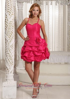 Flower Detailing Bubbled Hot Pinl 2013 Cocktail Gown