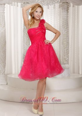 One Shoulder Coral Red Tulle Hand Flower Cocktail Dress