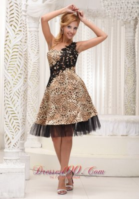 Applique One Shoulder Leopard and Tulle Short Cocktail Dress