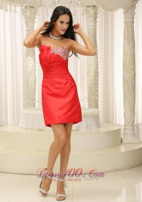 Taffeta Red Ruched Mini Length Cocktail Dresses