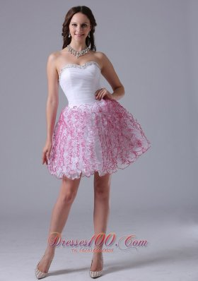 Ruffles Sweetheart Prom Cocktail Graduation Dress in White