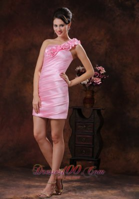 Rose Pink Flowers One-shoulder Graduation Cocktail Dress