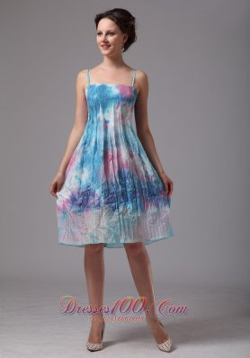 Custom Made Printing Spaghetti Straps Homecoming Dress