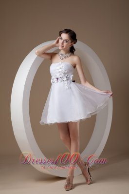 Organza Mini Length White Hand Flower Cocktail Graduation Dresses
