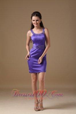 Exquisite Purple Cocktail Dress Straps Beaded Mini-length