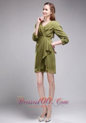 3 / 4-length Sleeves Olive Green Bridesmaid Dress