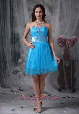 Sky Blue Cocktail Dress Sweetheart Organza Beading Mini-length