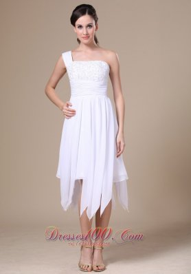 One Shoulder White Prom Holiday Dress Asymmetrical Appliques