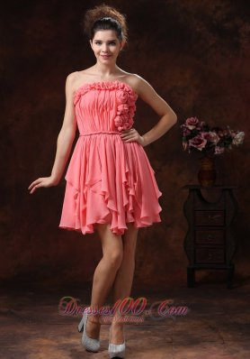 Watermelon Hand Flowers Strapless Custom Made Prom Dress