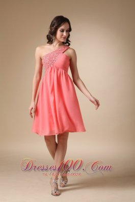 Watermelon Red One Shoulder Knee-length Homecoming Dress