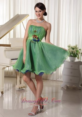 Two-toned Homecoming Dress Handmade Flower Belt Mini-length