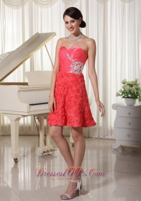 Watermelon Red Prom Holiday Dress With Rolling Flower