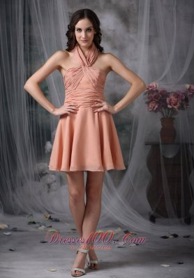 Halter Ruched Chiffon Knee Length Light Pink Cocktail Dresses
