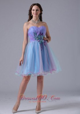 Sweetheart Short Prom Party Dress Applique Ruched