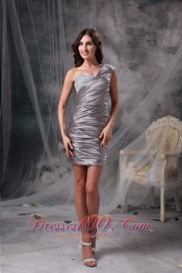 One Shoulder Ruched Short Prom Dress 2013