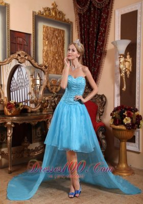 High-Low 2013 Aqua Blue Beading Prom Evening Dress