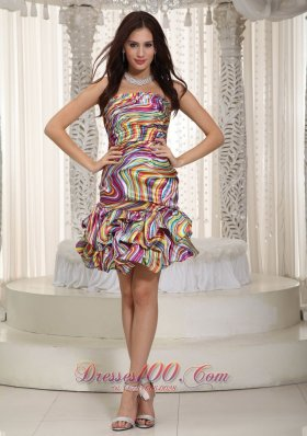 Print Strapless Knee-Length Prom Party Dress 2013