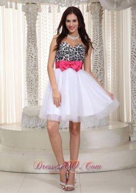 Leopard Bow Sweetheart Knee-Length Prom Dress