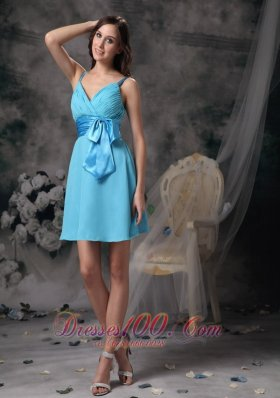 Lovely Bowknot Mini-length Prom Dress with Straps